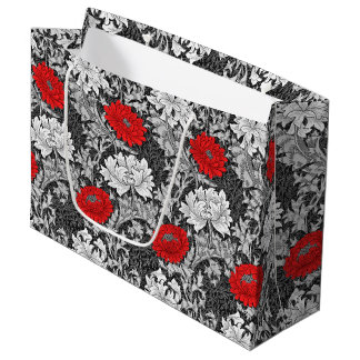 William Morris Chrysanthemums, Gray and Red Large Gift Bag