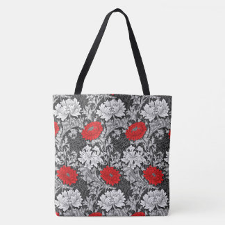William Morris Chrysanthemums, Gray and Red Tote Bag