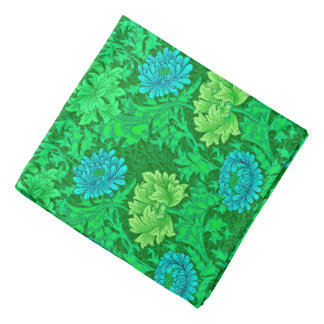 William Morris Chrysanthemums, Lime Green & Aqua Bandana