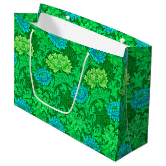 William Morris Chrysanthemums, Lime Green & Aqua Large Gift Bag
