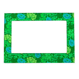 William Morris Chrysanthemums, Lime Green & Aqua Magnetic Picture Frame
