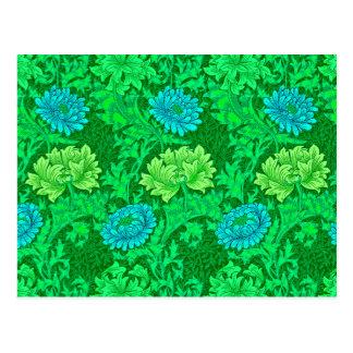 William Morris Chrysanthemums, Lime Green & Aqua Postcard