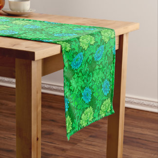 William Morris Chrysanthemums, Lime Green & Aqua Short Table Runner