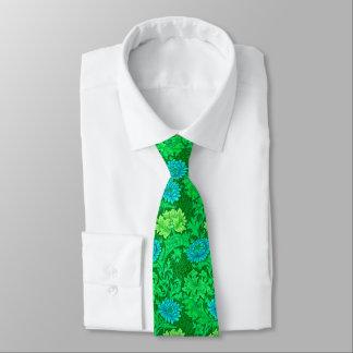 William Morris Chrysanthemums, Lime Green & Aqua Tie