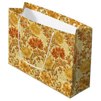 William Morris Chrysanthemums, Mustard Gold Large Gift Bag