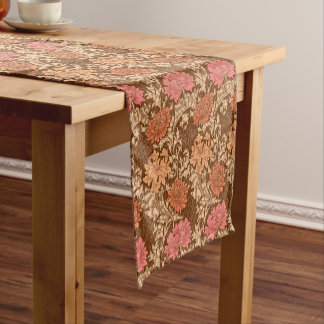 William Morris Chrysanthemums, Orange and Rust Short Table Runner