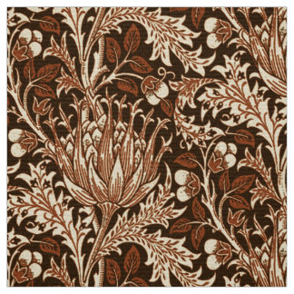 William Morris Damask, Brown & Beige Fabric