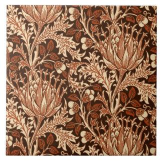 William Morris Damask, Brown & Beige Large Square Tile
