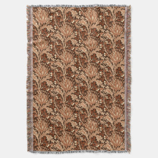 William Morris Damask, Brown & Beige Throw Blanket