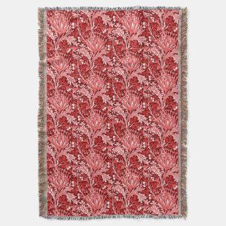 William Morris Damask, Dark Red & White