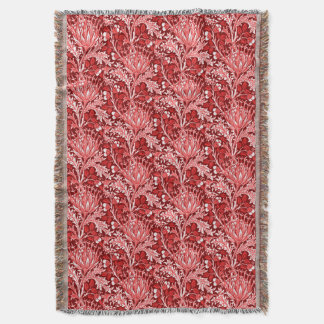 William Morris Damask, Dark Red & White Throw Blanket