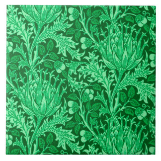 William Morris Damask, Emerald Green Ceramic Tile