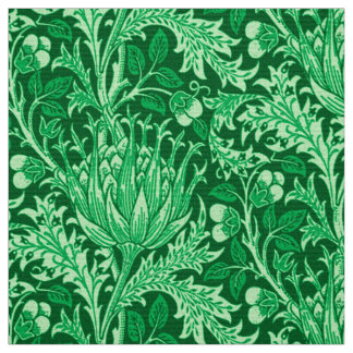 William Morris Damask, Emerald Green Fabric