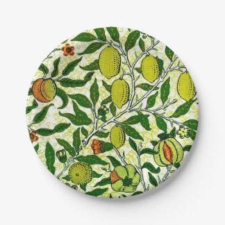 William Morris Exotic Fruit, Lemon Yellow Paper Plate