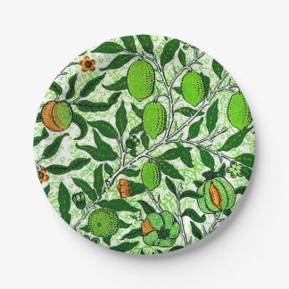 William Morris Exotic Fruit, Lime Green Paper Plate