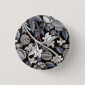 William Morris fabric black and white design 3 Cm Round Badge