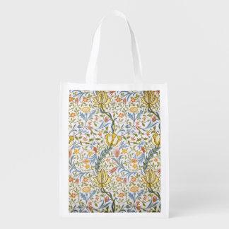 William Morris Flora Vintage Floral Art Nouveau Reusable Grocery Bag