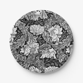 William Morris Floral, Black, White & Gray / Grey Paper Plate