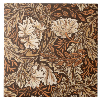 William Morris Floral, Chocolate Brown and Beige Large Square Tile