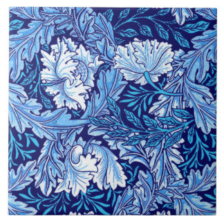 William Morris Floral, Cobalt Blue and White Large Square Tile