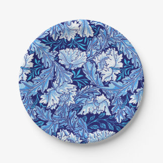 William Morris Floral, Cobalt Blue and White Paper Plate