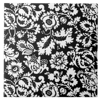 William Morris Floral Damask, Black and White Tile