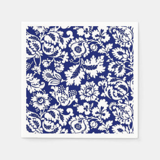 William Morris Floral Damask, Cobalt Blue & White Disposable Napkins