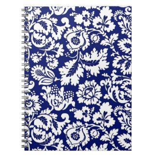 William Morris Floral Damask, Cobalt Blue & White Notebook