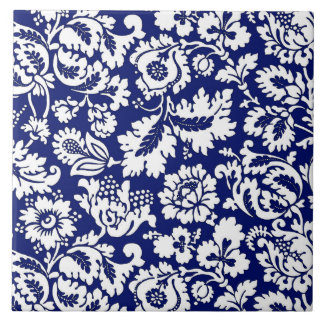 William Morris Floral Damask, Cobalt Blue & White Tile