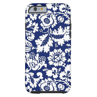 William Morris Floral Damask, Cobalt Blue & White Tough iPhone 6 Case