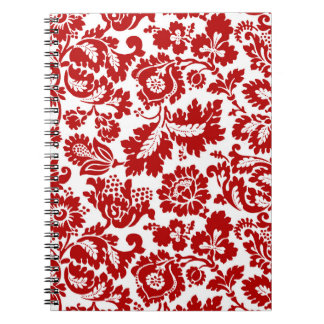 William Morris Floral Damask, Deep Red and White Notebooks