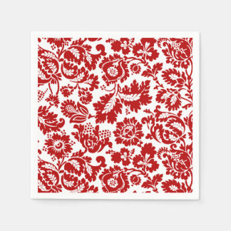 William Morris Floral Damask, Deep Red and White Paper Napkin