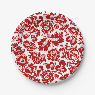 William Morris Floral Damask, Deep Red and White Paper Plate