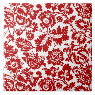 William Morris Floral Damask, Deep Red and White Tile