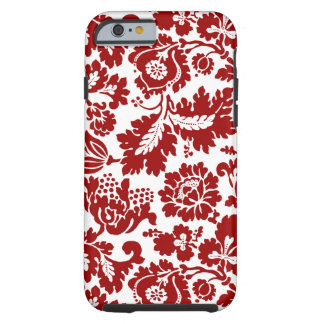 William Morris Floral Damask, Deep Red and White Tough iPhone 6 Case