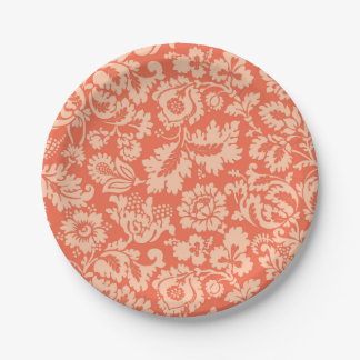 William Morris Floral Damask, Peach and Coral Paper Plate