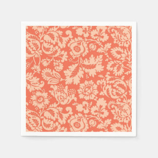 William Morris Floral Damask, Peach and Coral Paper Serviettes