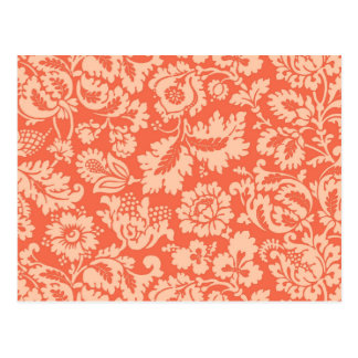 William Morris Floral Damask, Peach and Coral Postcard