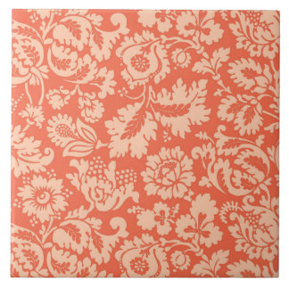 William Morris Floral Damask, Peach and Coral Tile