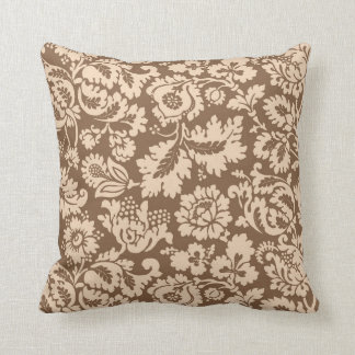 William Morris Floral Damask, Taupe Tan and Beige Cushion