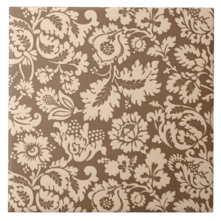 William Morris Floral Damask, Taupe Tan and Beige Tile