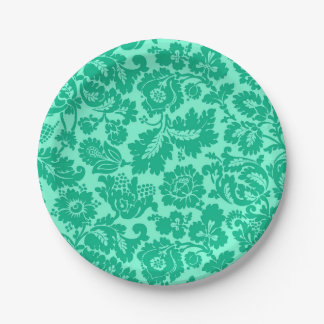 William Morris Floral Damask, Turquoise and Aqua Paper Plate