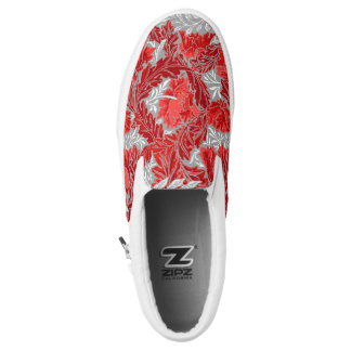 William Morris Floral, Deep Red and Gray / Grey Slip-On Shoes