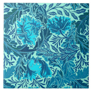 William Morris Floral, Indigo Blue and Turquoise Large Square Tile