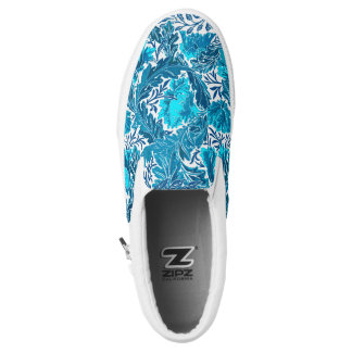 William Morris Floral, Indigo Blue and Turquoise Slip On Shoes