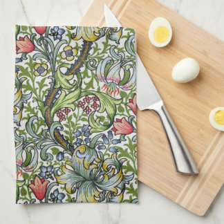 William Morris Golden Lily Floral Chintz Pattern Tea Towel
