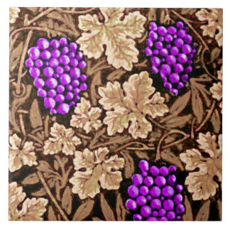 William Morris Grapevine, Brown and Purple Large Square Tile