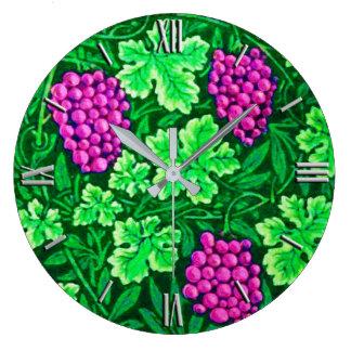 William Morris Grapevine, Magenta and Green Large Clock