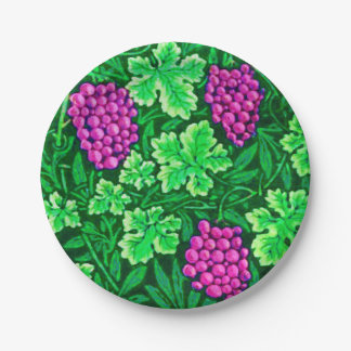 William Morris Grapevine, Magenta and Green Paper Plate