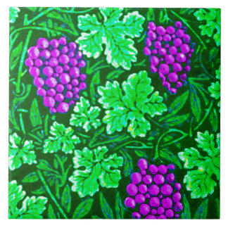 William Morris Grapevine, Purple and Green Ceramic Tile